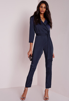 Missguided Silky Wrap Shirt Romper Navy