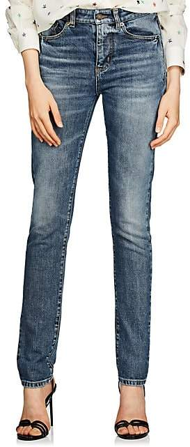 Saint Laurent Women's Logo-Embroidered Skinny Jeans - Md. Blue