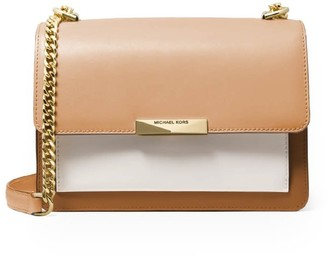 Michael Kors Jade Light Brown White Shoulder Bag