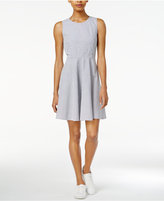 Armani Exchange Cotton Seersucker Fit & Flare Dress, Only at Macy's