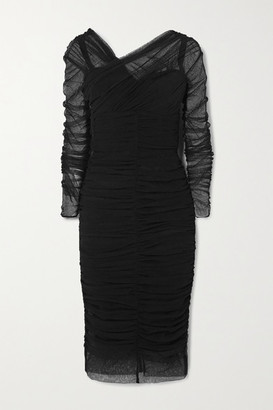 Dolce & Gabbana Ruched Tulle Midi Dress - Black