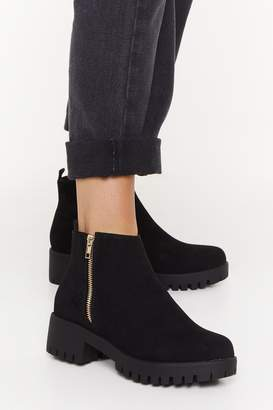 Nasty Gal Womens Don't Forget Zip Faux Suede Boots - black - 3