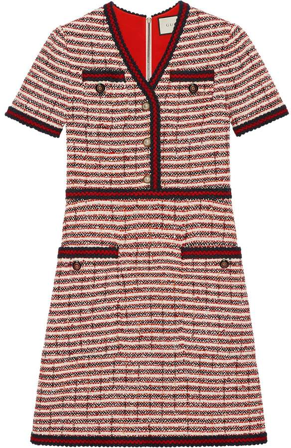 Gucci Striped tweed v-neck dress