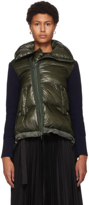 Sacai Khaki Quilted Wool Zippered Sweater