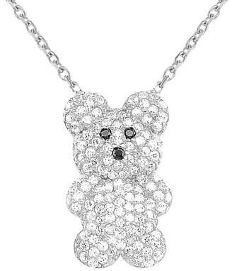 GABIRIELLE JEWELRY Silver Cz Bear Pendant Necklace