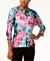Cable & Gauge Floral-Print Grommet-Trim Top