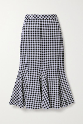 Rosetta Getty Fluted Gingham Stretch-jersey Midi Skirt - Black