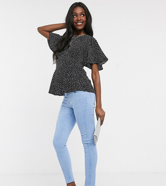 ASOS DESIGN Maternity high rise ridley 'skinny' jeans in bright blue with over the bump waistband