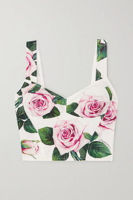 Dolce & Gabbana Floral-print Cotton-blend Poplin Bustier Top - White