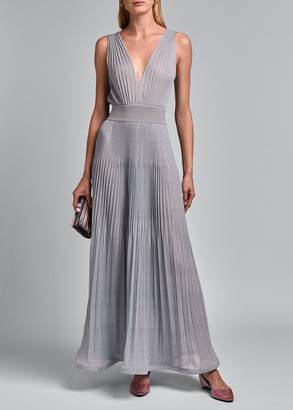 Giorgio Armani Sleeveless V-neck Pleated Gown