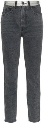 Jordache High-Waisted Straight Leg Metallic Panel Jeans