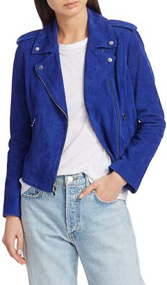 L'Agence Asymmetrical Full-Zip Suede Jacket