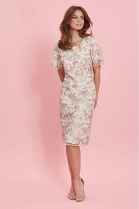 Gina Bacconi Womens Cream Coletta Embroidered Shift Dress - Cream