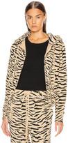 Nili Lotan Callie Zip Up Hoodie in Sandstone & Black Zebra Print | FWRD