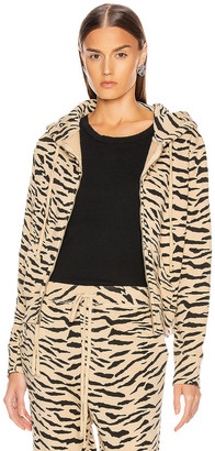 Nili Lotan Callie Zip Up Hoodie in Sandstone & Black Zebra Print | FWRD