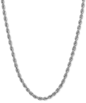 Italian Gold Rope Chain Necklace (2-1/2mm) in 14k White Gold