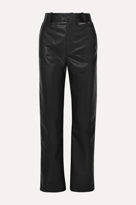 Commission - Faux-leather Straight-leg Pants - Black