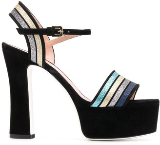 Pollini Striped Heeled Sandals