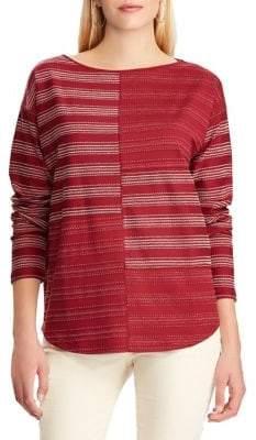 Chaps Petite Colourblock Embroidered Cotton Top
