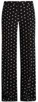Miu Miu Cat-print wide-leg silk trousers