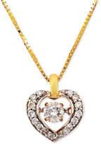 Macy's Diamond Heart Pendant Necklace (1/4 ct. t.w.) in 14k Gold