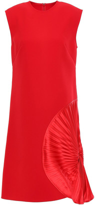 Victoria Beckham Pleated Satin-appliqued Bonded Crepe Dress