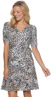 Sharagano Women's Animal-Print Faux Wrap Dress