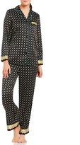 Cabernet Border-Print Satin Pajamas