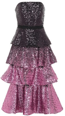Marchesa Notte Sequined strapless midi dress