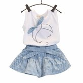 Perman Toddler Kids Girls Bow Outfit T-shirt Tops+Shorts Pants Set