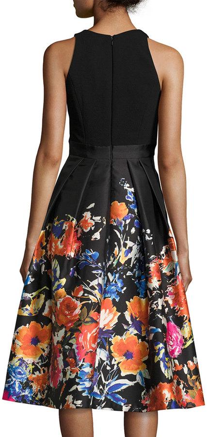 Carmen Marc Valvo Sleeveless Combo Floral Midi Cocktail Dress