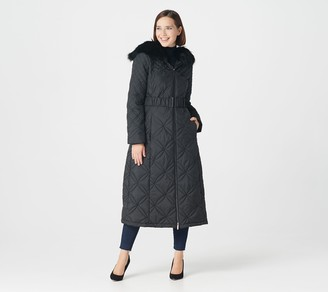 Dennis Basso Petite Water-Resistant Quilted Maxi with Hood