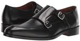 Massimo Matteo Veneto Double Monk (Black Veneto Leather) Men's Slip on Shoes
