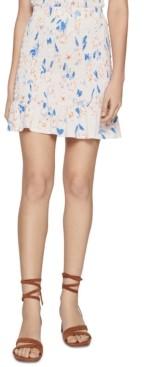BCBGeneration Smocked Textured-Floral Flounce Mini Skirt