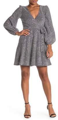 Donna Morgan Long Sleeve Wrap Sequin Dress