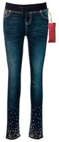 Seven7 Girls' Embellished Knit Waist Skinny Jean - Blue 12