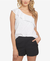 1 STATE 1.STATE Eyelet One-Shoulder Flounce Top