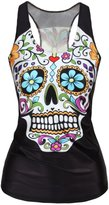 Pink Queen Ninimour- Women Digital Printed Sleeveless T Shirt Vest Tank Tops (floral skull)