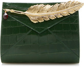 Ines Figaredo Crocodile Clutch with Feather