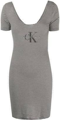 Calvin Klein Jeans Striped Print Logo Dress