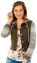 Wallflower Juniors' Wallflower Marled Sleeve Utility Jacket