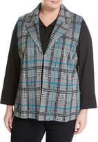 Ming Wang Plus Plaid Knit Vest, Black/White, Plus Size
