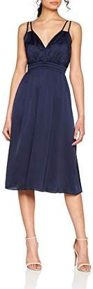 Little Mistress Women's Navy Strappy Satin Midi Dress Party, Blue 001, 8 (Size:08)