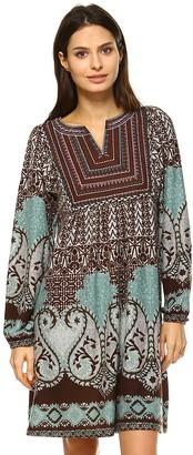 White Mark Women's Paisley Sweaterdress