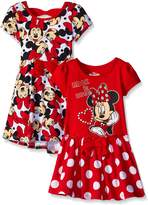 Disney Little Girls' 2 Pack Minnie Rocks The Dots Dresses