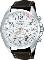 Pulsar Mens Brown Leather Strap Chronograph Sport Watch PT3419X