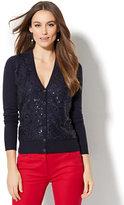 New York & Co. 7th Avenue Design Studio - Lace-Overlay V-Neck Chelsea Cardigan