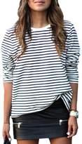YACUN Women's Stripes Long Sleeve T-Shirt Loose Pullovers Tops XL
