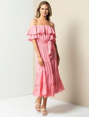 Forever New Ally Off-Shoulder Ruffle Maxi Dress - Pink - 6