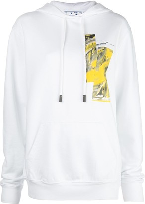 Off-White Chest Print Detailed Hoodie